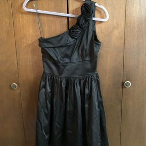 Black Rose Appliqué One Shoulder Cocktail Dress